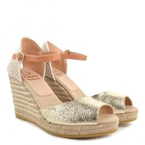 Kanna Evita Metallic Gold Leather Wedge Espadrille